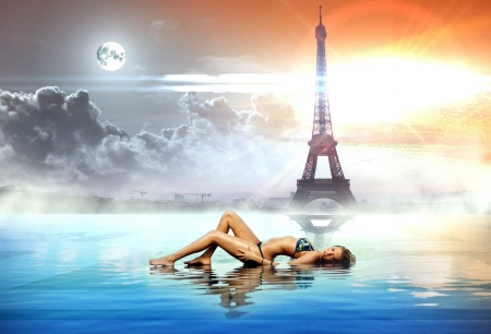 Bikini Model in a Fantasy Image with the Eiffel Tower - brunette, fantasy, model, bikini, eiffel tower