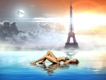 Bikini Model in a Fantasy Image with the Eiffel Tower