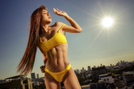 Model in a Yellow Bikini - brunette, sun, model, bikini