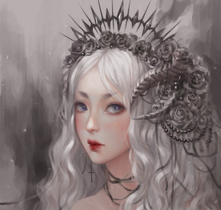 Dark Queen - art, luminos, girl, grey, dark queen, face, white, momo art, fantasy