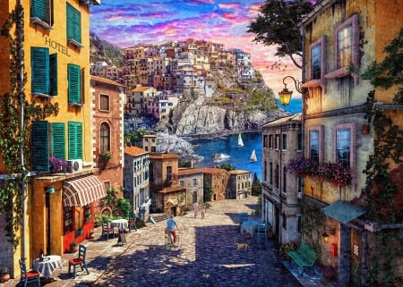 Italian Village Sunset - cinque terre, street, mediterranean, tables, houses, bicycle, sky, artwork, boats, restaurant, digital, flowers, village, chairs