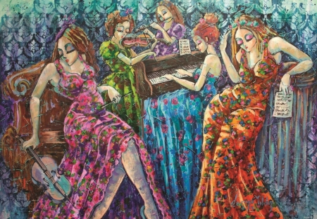 Colorful notes - dresses, coloful, women, music