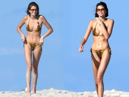 Kaia Gerber - legs, model, Kaia Gerber, beautiful, sexy, bikini, sunglasses, sand, actress, wallpaper, 2020, Kaia, Gerber, blend