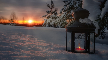 Winter Lantern ♥ - lantern, winter, candle, snow, beautiful, sunset