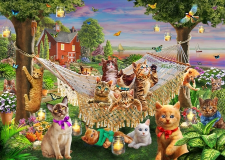 cats - house, beautiful, paintings, cats