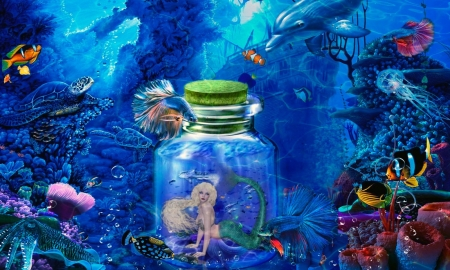 Mermaid in a Bottle - water, Mermaid, ocean, bottle, magical, digital, mythical
