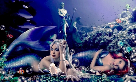 Two Dreamy Mermaids - lovely, mythical, statue, Mermaids, fantasy