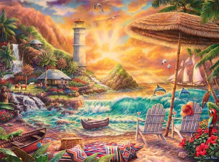Love the beach - sun, sailship, umbrella, waves, sunset, clouds, sky, palms, lighthouse, artwork, boats, dolphins, flowers, chairs, painting