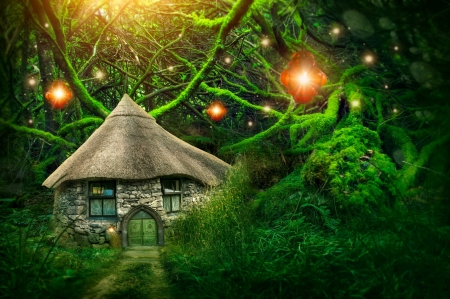 Fairy forest with a small house - magical, fairytale, fairy, enchanted, wood, art, forest, house, lantern, beautiful, trees, fantasy