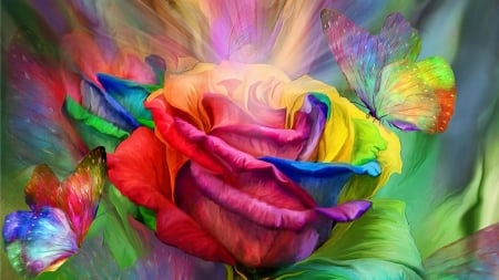 Rainbow Rose & Butterflies - Flowers & Nature Background Wallpapers on  Desktop Nexus (Image 2542019)