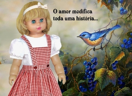 LOVE CHANGES AN ENTIRE STORY - lovely, romantic, blue bird, adorable, picture, cute, girl, bird, love, beauty, nature, story, landscape, blue