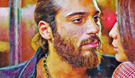 Can - yellow, man, by cehenot, can, cehenot, erkenci kus, painting, face, pictura, pink, blue, actor, Can Yaman