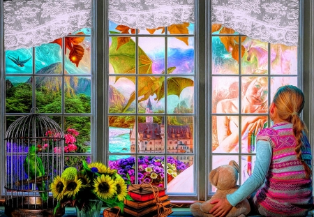 Dreaming of becoming a princess - girl, window, digital, colors, flowers, child, dragon, artwork