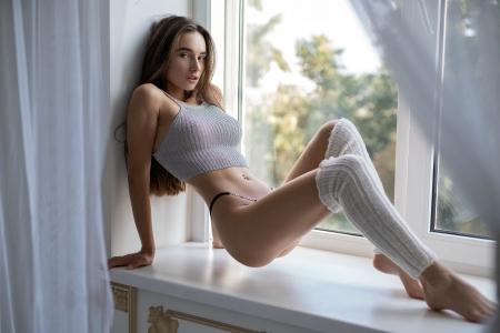 Sexy Gloria Sol - brunette, leggings, window, model