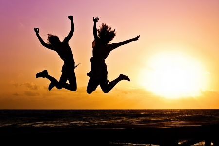 Happy couple - photography, people, HD, jump, mood, happy, leap