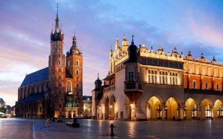 Marketplace in Krakow, Poland - Krakow, church, square, market, Poland