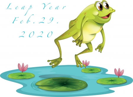 Leap Year - Frog - pond, pretty, frog, lilies, year, jump, illustration, leap