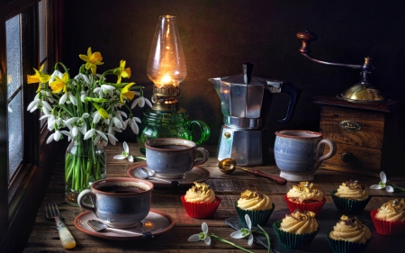 Coffee Still Life - mill, coffee, cups, cupcakes, lamp, snowdrops