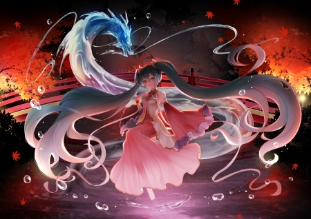 Miku and the Dragon - anime, red, mamo, hatsune miku, girl, manga, dragon