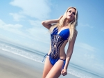 Blonde Posing in a Beautiful Blue Swimsuit
