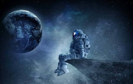 :) - cosmonaut, fantasy, astronaut, planet, luminos, space, cosmos, blue