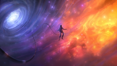 :) - fantasy, orange, luminos, space, antifan real, pink, blue, cosmonaut, astronaut, purple