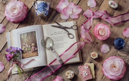 still life - photography, bouquets, ribbon, color, book, petals, pink, roses