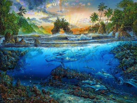 Secret Cove - dolphins, fish, mountains, painting, sunset, waves, sea, palms
