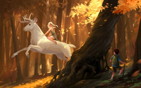White Stag in Forest - forest, original, autumn, boy, girl, anime, stag, deer