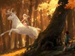 White Stag in Forest
