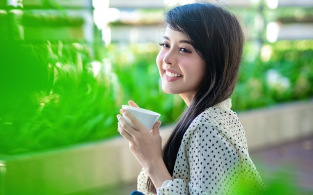 Girl with Cup - brunette, cup, smile, girl
