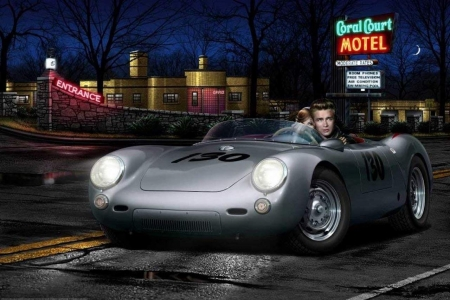 No Tell Motel - motel, james dean, night, car, moon