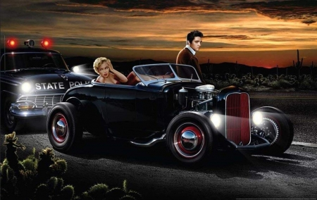 Joy Ride - monroe, hot rod, marilyn, elvis, police, night