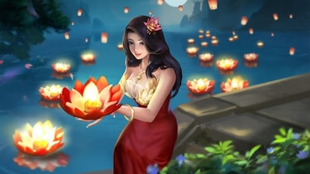 Lotus light - red, lotus, frumusete, luminos, vara, water, fantasy, girl, mriz xiao, summer, light, blue, night