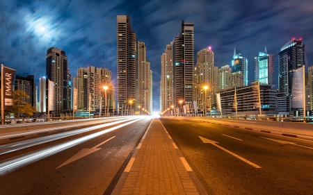 Dubai- United Arab Emirates - modern, dubai, city, night