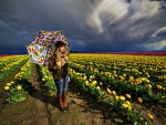 In Field With Umbrella