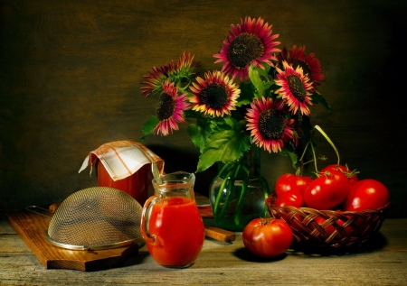 Still Life - tomatoes, blossoms, juice, sunflowers, scree