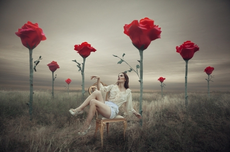 Woman in a field - manipulation, flowers, art, red, photo, pretty, sureal, brunette, photography, high heels, fantasy