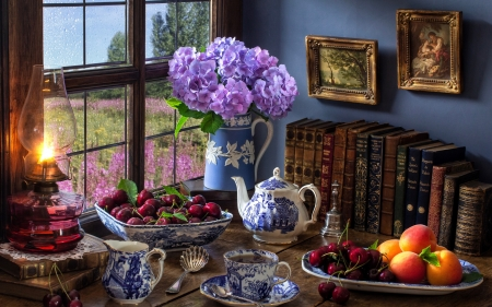 Hydrangea Still Life - tea, purple, cherry, life, hygrangea, still