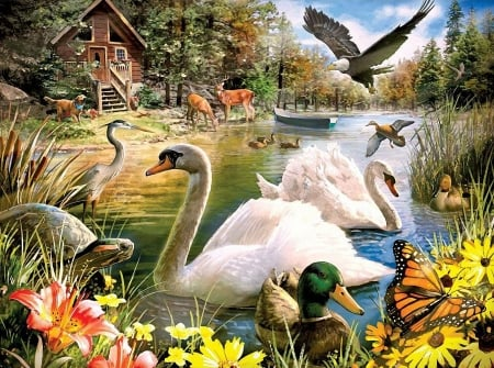 Lake Cabin - boat, butterfly, painting, ducks, eagle, flowers, dog, swans