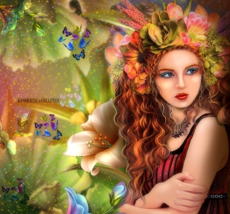 Fantasy girl - pretty, art, paintings, girl, fantasy