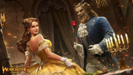 Beauty and the Beast - red, beauty and the beast, red pencil art, dress, luminos, rose, game, belle, yellow, fantasy, flower, princess, blue, couple