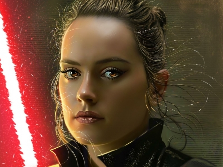 Dark Rey - girl, yasar vurdem, star wars, face, portrait, red, art, luminos, black, dark rey, fantasy