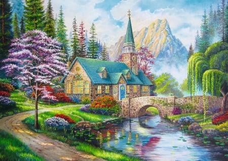 Woodland Seclusion - bridge, church, mountain, painting, flowers, river, scenery