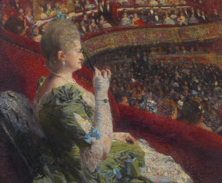 Madame Edmond Picard in the box of the Theatre La Monnaie - box, madame edmond picard, painting, theatre, pictura, art, red, Theo van Rysselberghe, woman, green, people