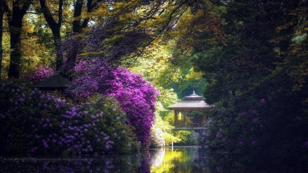 Gazebo Pond - pond, nature, trees, gazebo
