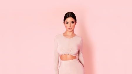 Demi Rose Mawby - pink background, brunettes, models, Demi Rose Mawby, shadows