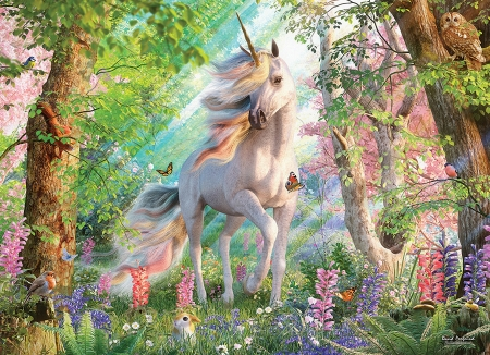 Unicorn's World - butterflies, sunrays, horse, painting, flowers, trees