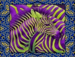 Purple - Green Zebra Abstract