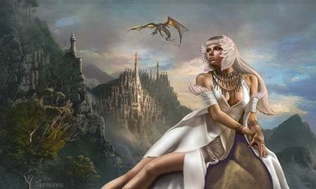 Her Fantasy Kingdom - Digital art, medievil, lovely, fantasy, Fantasy girl, kingdom, castle, dragon
